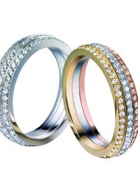 Fedi Polello oro bianco, giallo e rosa con diamanti.La Gioielleria sas