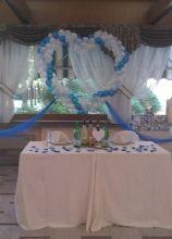 Il tavolo degli sposi addobbato con palloncini a forma di cuore