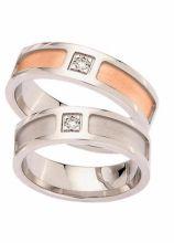 Fedi per il matrimonio a fascia con diamante nel centro - Collezione Desiderio