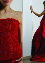 Vestito da cerimonia rossa senza spalline - Modello Melanie