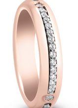 Fede a fascia con diamantini e oro rosa