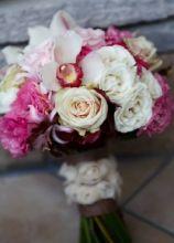 Bouquet sposa con rose e lisianthuse cymbidium