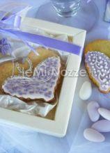 Biscotto per il matrimonio con scatola color glicine