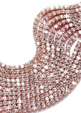 Bracciale in lega rosè a 11 file di cristalli