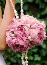 Bouquet da polso con perle di peonie rosa