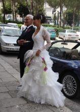 Bouquet a fascio per la sposa sui toni del rosa