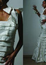 Vestito monospalla con roches - Modello Charlize