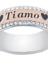 Fede personalizzata in oro rosa e diamanti bianchi - TVB Forever by Artilinea