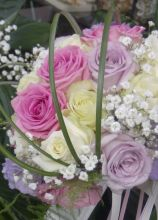 Buoquet rosa e lilla per la sposa