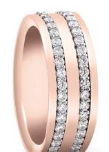 Fede piatta in oro rosa con file di diamanti