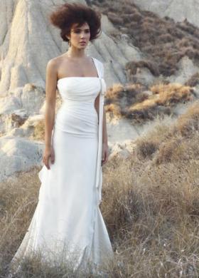Angela Pascale Spose - Abito da sposa monospalla con corpetto intrecciato