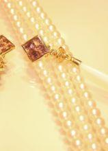 Collana e orecchini di perle e oro giallo per la sposa
