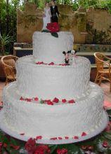 Torta nuziale bianca con petali rossi