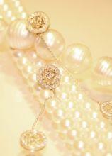 Collana di perle e orecchini con diamanti