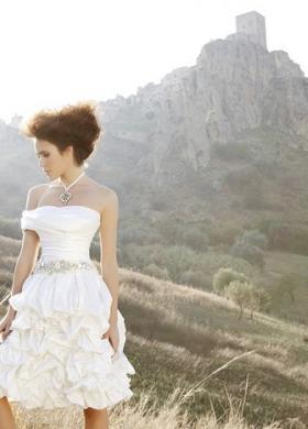 Angela Pascale Spose - Vestito da sposa corto con cinta in Swarovski
