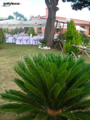 Allestimento del giardino per il ricevimento di matrimonio