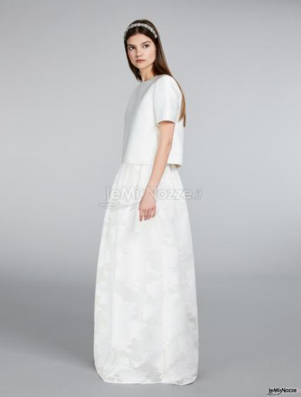 Max Mara Bridal - Top in duchesse con gonna jacquard
