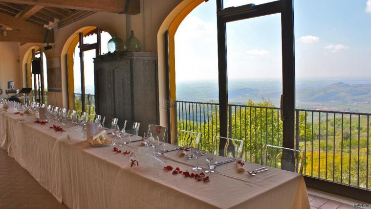 sala ricevimento con vista panoramica dalla Tenuta Coffele