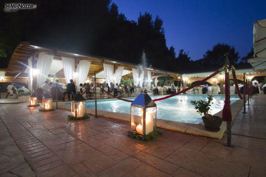 Allestimento con candele per la piscina villa cinelli for Candele per piscina