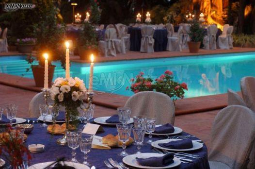 Villa Chiaramonte Bordonaro - Allestimento dei tavoli del ricevimento all'aperto
