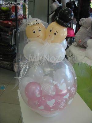 Composizione di palloncini per gli sposi e 39 qui la festa foto 1 - Composizione palloncini da tavolo ...