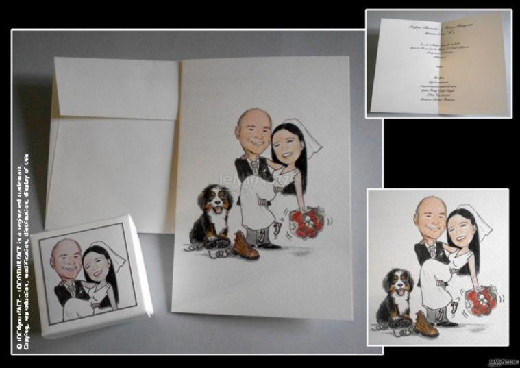 partecipazione nozze e scatolina confetti con disegno sposa in braccio a sposo e loro cane